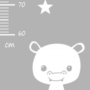 Detský meter na stenu - hrošík