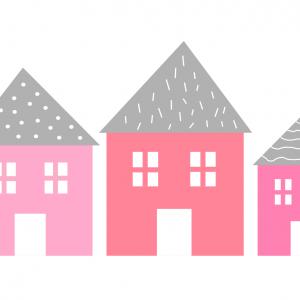 Samolepka domčeky   pink