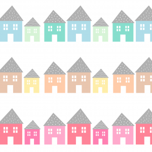 Samolepka domčeky   blue