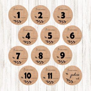 Míľnikové kartičky   kruh brown